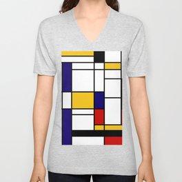Primary Colors Geometric Pattern Fabric - Mondrian Fabric - Bauhaus Style Lines Home Decor Cotton Unisex V-Neck