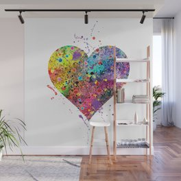 Heart Watercolor Art Print Love Home Decor Valentine's Day Wedding or Engagement Gift Wall Mural