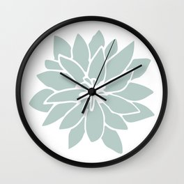 Flower Forest Fern Green on White Wall Clock