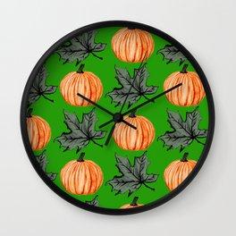 Pumpkin Grass-green Autumn Leaf Wall Clock