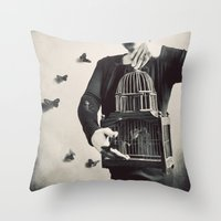 butterfly Throw Pillows featuring The Butterfly Releaser by elle moss