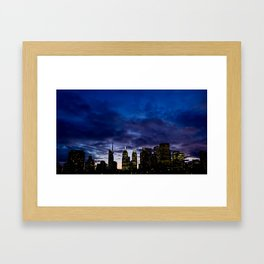 Skyline City Sunset Framed Art Print