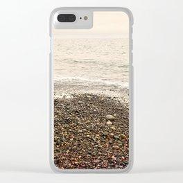Dungeness Shoreline, Pebble Beach, Washington Seascape, Juan de Fuca, Coastal Photography Clear iPhone Case