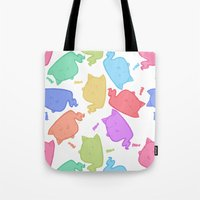 mew Tote Bags featuring Mew-Boo by Lixxie Berry Illustration