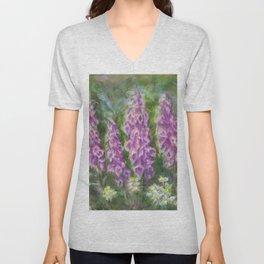 Foxgloves in the Spring Garden by Marianne Fadden Unisex V-Neck