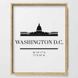 WASHINGTON DC BLACK SILHOUETTE SKYLINE ART Serving Tray