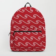 Wave Pattern | Red and White Backpack