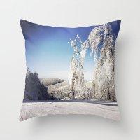 ski Throw Pillows featuring Ski  by David Nadeau