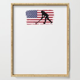 Field Hockey design USA American Flag design Serving Tray