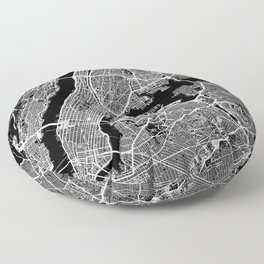 New York City, New York Map Art (Black) Floor Pillow