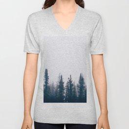Minimalist Landscape Photo Pine Tree Silhouette Misty Forest Unisex V-Neck