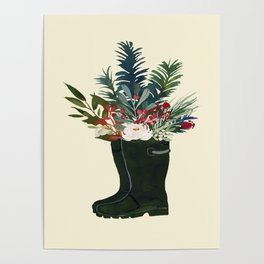 Christmas Boot Floral Bouquet No Text Poster