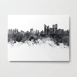 Busan skyline in black watercolor on white background Metal Print
