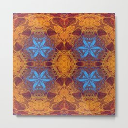 Glowing Mustard and Periwinkle Mandala Portal Metal Print