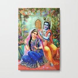 Lord Krishna Putting flowers in Radha's hair Metal Print