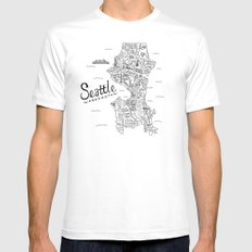 Seattle Map MEDIUM Mens Fitted Tee White