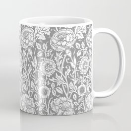"William Morris Floral Pattern | ""Pink and Rose"" in Grey and White Coffee Mug"