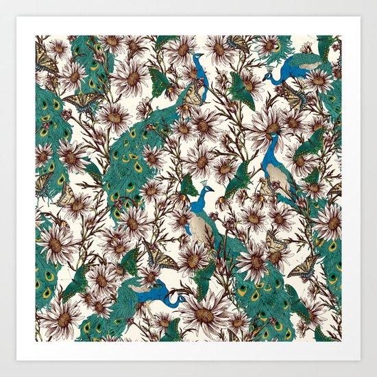 Butterflies in My Peacock Garden  Art Print
