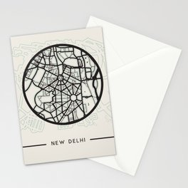 New Delhi Abstract City Map Stationery Cards