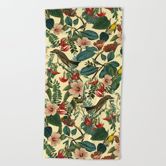 FLORAL AND BIRDS VII Beach Towel