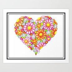 Summer Daisies Heart  Art Print