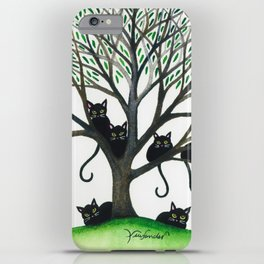 Borders Whimsical Cats in Tree iPhone Case