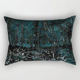 Vincent Van Gogh Trees & Underwood Dark Teal Rectangular Pillow