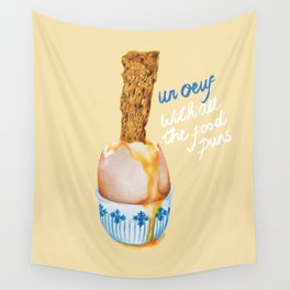 Un Oeuf With All The Food Puns Wall Tapestry