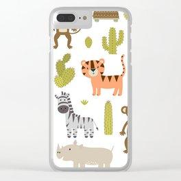 Cute safari animals seamless pattern Clear iPhone Case