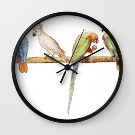 Vintage Parrot Variety Perched on Branch Wall Clock