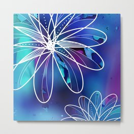 Abstract Blue Galaxy Flowers Metal Print