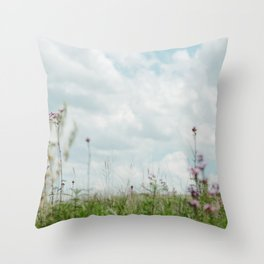 Wildflower Sky - Clouds and Flowers Throw Pillow