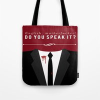 pulp fiction Tote Bags featuring Pulp Fiction by Jason Vaughan