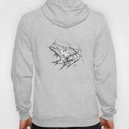 Frog Handmade Drawing, Made in pencil, charcoal and ink, Tattoo Sketch, Tattoo Flash, Sketch Hoody