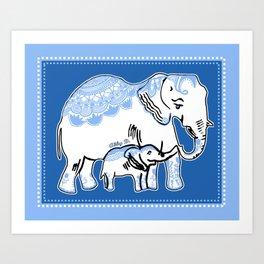 Ornate Elephants Blue and White Art Print