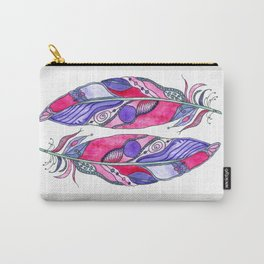 Bohemian Spirit Feathers - Magenta & Violet Carry-All Pouch
