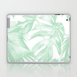 Light Green Tropical Palm Leaves Print Laptop & iPad Skin