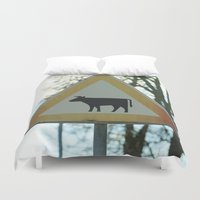 cows Duvet Covers featuring Attention cows by Falko Follert Art-FF77