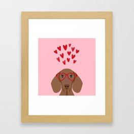 Dachshund valentines day love heart gifts dog breed doxie must haves Framed Art Print
