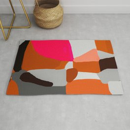 Abstract in Pink, Brown and Grey Rug
