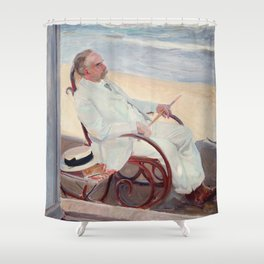Antonio García at the Beach - Joaquín Sorolla Shower Curtain