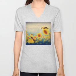 Gold Sunflowers Unisex V-Neck