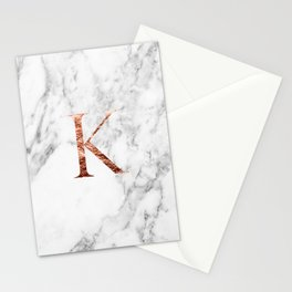 Monogram rose gold marble K Stationery Cards
