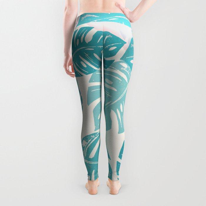 Linocut Monstera Rosy Leggings