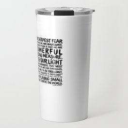 Inspirational Print. Powerful Beyond Measure. Marianne Williamson, Nelson Mandela quote. Travel Mug