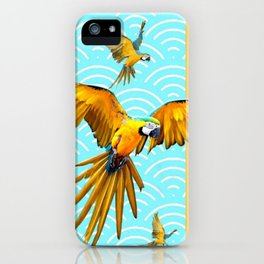 MODERN  AQUA BLUE & GOLD TROPICAL MACAWS IN FLIGHT iPhone Case