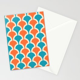 Classic Fan or Scallop Pattern 429 Orange and Turquoise Stationery Cards