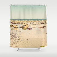 rocky Shower Curtains featuring Rocky Beach by Cassia Beck