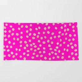 Modern rose gold glitter polka dots neon pink attern Beach Towel
