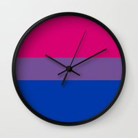 bisexual Wall Clocks featuring bisexual flag by tony tudor